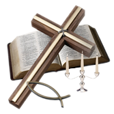 Pictures of a Cross, Bible, Christian Fish, Candelabra