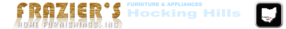 Header logo of Frazier's Home Furnishings with Furniture & Appliances, Hocking Hills, Phone Number and an Icon of the state of Ohio and a dot where we are located in the state.